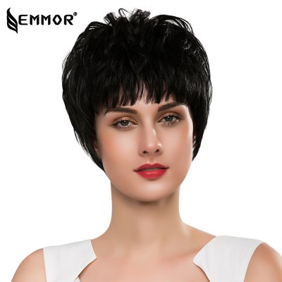 EMMOR Short Straight Full Bangs Capless Human Hair Wigs