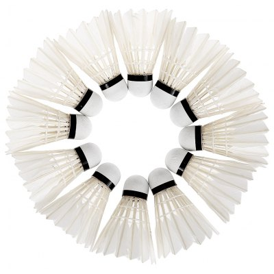 12pcs Portable White Duck Feather Training Badminton Balls Shuttlecocks Sport