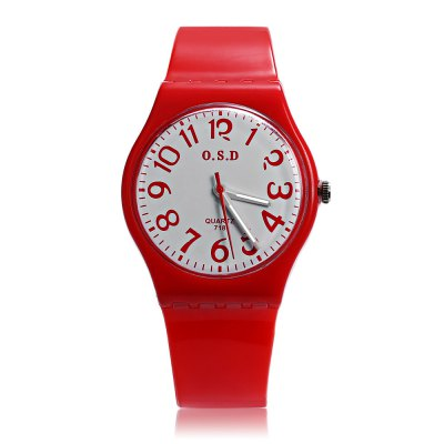 OSD 718 Kids Quartz WatchKids Watches<br>OSD 718 Kids Quartz Watch<br><br>Band Length: 6.89 inch<br>Band Material Type: Silicone<br>Band Width: 15mm<br>Case material: Plastic<br>Case Shape: Round<br>Clasp type: Pin Buckle<br>Dial Diameter: 1.18 inch<br>Dial Display: Analog<br>Dial Window Material Type: Glass<br>Feature: Luminous<br>Gender: Children<br>Movement: Quartz<br>Package Contents: 1 x Watch<br>Package Size(L x W x H): 24.50 x 7.00 x 1.00 cm / 9.65 x 2.76 x 0.39 inches<br>Package weight: 0.0420 kg<br>Product Size(L x W x H): 21.00 x 3.50 x 0.80 cm / 8.27 x 1.38 x 0.31 inches<br>Product weight: 0.0200 kg<br>Style: Sport<br>Water Resistance Depth: 30m
