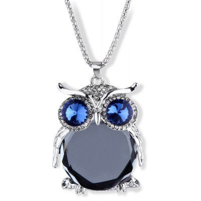Owl Design Hollow Out Rose Crystal Necklaces