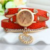 cheap Rhinestone Heart Pendant Women Bracelet Quartz Wrist Watch