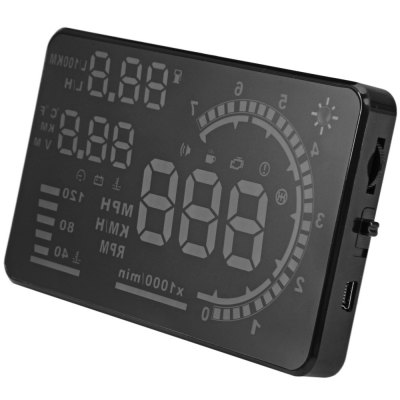 A8 5.5 inch OBD II Car HUD Head Up Display Windscreen Projector with Speed Warning RPM MPHOBD &amp; Diagnostic Tools<br>A8 5.5 inch OBD II Car HUD Head Up Display Windscreen Projector with Speed Warning RPM MPH<br><br>Color: Black<br>Data measurements: Clock,engine temperature,fuel consumption,live data,reads and clears trouble codes,RPM,throttle position,Vehicle speed<br>Display Content: Speed, instantaneous fuel consumption, per hundred kilometers instantaneous fuel consumption, per hundred kilometers average fuel consumption,voltage, speed alarm, water temperature alarm, voltage ala<br>Language: English<br>Material: Plastic,  Electronic Components<br>Model: A8<br>Package Contents: 1 x A8 Head Up Display, 1 x Reflective Film, 1 x OBD Cable, 1 x Antiskid Pad, 1 x English User Manual<br>Package size (L x W x H): 16.80 x 13.00 x 4.30 cm / 6.61 x 5.12 x 1.69 inches<br>Package weight: 0.2850 kg<br>Product size (L x W x H): 13.00 x 7.50 x 1.30 cm / 5.12 x 2.95 x 0.51 inches<br>Product weight: 0.0980 kg<br>Screen: 5.5 inch