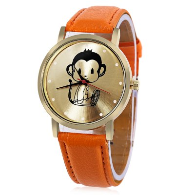 Women Monkey Pattern Dial Quartz Watch