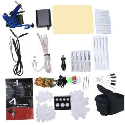 Complete Tattoo Kit Machine Guns Power Supply Needles