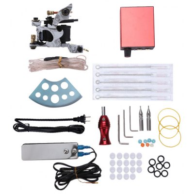 Tattoo Kit Liner Machine Gun Power Supply Needles Grips