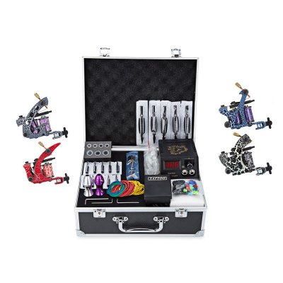 Solong Complete Tattoo Kits 4 Colorful Machine Guns 54 Inks