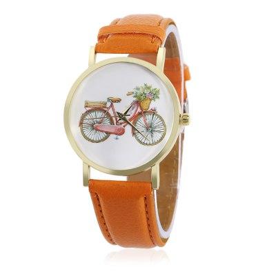 Women Quartz Bicycle Pattern Dial Watch