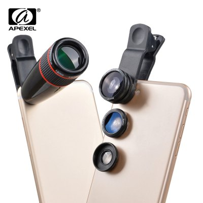 APEXEL APL - 12CX3 4 in 1 External Phone Camera Lens Suit