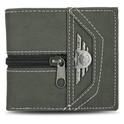 Punk Zipper Snap Fastener Letter Canvas Short Wallet