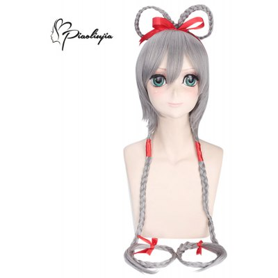 Piaoliujia Short Gray Wigs with Long Braid Red Tape Cosplay for VOCALOID3 Luo Tianyi Figure