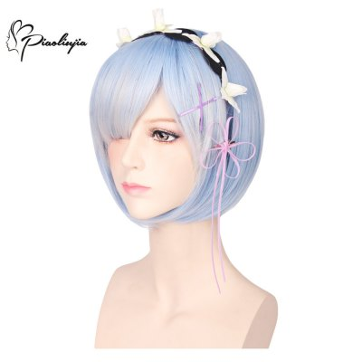 Piaoliujia 35CM Ram Rem Cosplay Wigs Short Bob Hair with Adornment