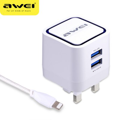 Awei C - 950 2 USB 5V Travel Charger UK Plug with 8 Pin Cord