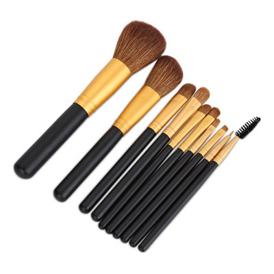 10pcs Makeup Brushes Set with Leather Bag