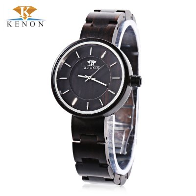 K KENON Male Wooden Quartz Watch