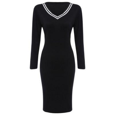 Chic V-Neck Long Sleeve Striped Bodycon Midi Dress for Women