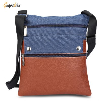 Guapabien Motorcycle PU Leather Denim Spliced Women Bag