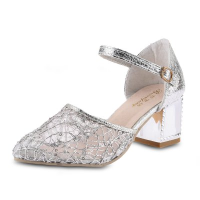 Translucent Lace Yarn Sequins Ladies Thick Heel Sandals