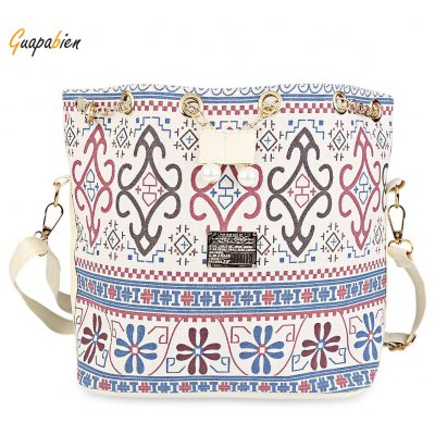 Guapabien Lady Faux Pearl Letter Embellishment Print Pattern Bucket Multi Purpose Tote Shoulder Crossbody Bag