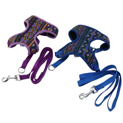 XuanCheng National Style Pet Dog Mesh Vest with Traction RopeDog Collars &amp; Leads<br>XuanCheng National Style Pet Dog Mesh Vest with Traction Rope<br><br>Applicable Dog Breed: Large Dog, Medium-sized Dog, Small Dog<br>Color: Blue,Purple<br>Package Contents: 1 x Dog Harness, 1 x Dog Traction Rope<br>Package Size(L x W x H): 17.00 x 16.00 x 2.00 cm / 6.69 x 6.3 x 0.79 inches<br>Package weight: 0.0980 kg<br>Product weight: 0.0770 kg<br>Size: L,M,S,XL<br>Style: Fashion