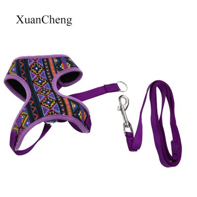 XuanCheng National Style Pet Dog Mesh Vest with Traction Rope