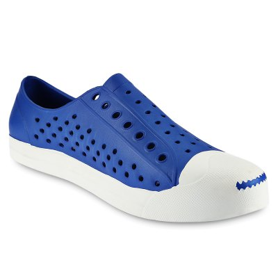 Hole Design Breathable Male Beach SandalsMens Sandals<br>Hole Design Breathable Male Beach Sandals<br><br>Available Size: 40, 41, 42, 43, 44<br>Closure Type: Slip-On<br>Embellishment: None<br>Gender: For Men<br>Heel Hight: 2.3 cm / 0.91 inch<br>Occasion: Casual<br>Outsole Material: Plastic<br>Package Contents: 1 x Pair of Men Sandals<br>Pattern Type: Others<br>Sandals Style: Fisherman<br>Shoe Width: Medium(B/M)<br>Style: Leisure<br>Upper Material: PVC<br>Weight: 0.5520kg
