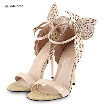 GUMANDUO Butterfly Wings Ladies Thin High Heel Sandals
