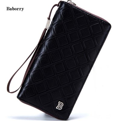 Baborry Rhombus Patterns Long Clutch Wallet for Men