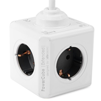 1 Piece Allocacoc Extended 4 Outlets 2 USB Ports PowerCube Socket DE Plug Adapter with 3m Cable
