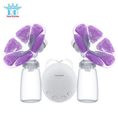 RealBubee Double Intelligent Microcomputer USB Electric Breast Pump with Milk Bottle Cold Heat Pad