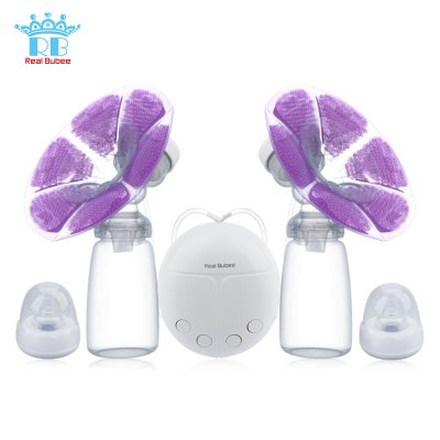 RealBubee Double Intelligent Microcomputer USB Electric Breast Pump with Milk Bottle Cold Heat Pad Nipple