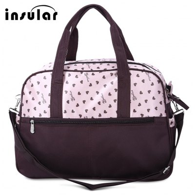 Insular Waterproof Heart Printed Baby Diaper Bag Mummy Handbag