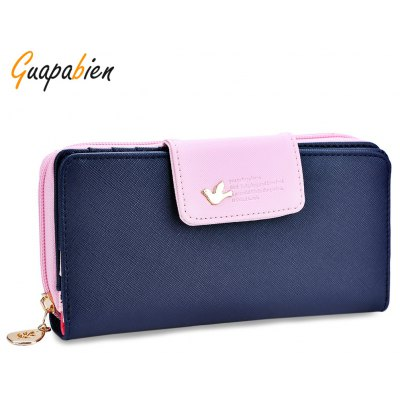 Guapabien Bird Letter Water Drop Leaf Color Block Wallet