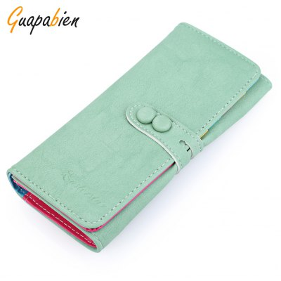 Guapabien Women Candy Color Letter Hollow Strap Two Snap Fasteners Vertical Wallet
