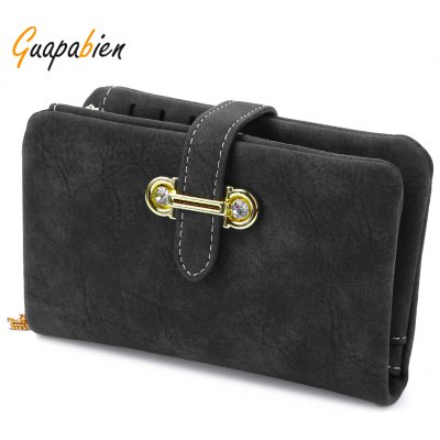 Guapabien Lady Rhinestone Embelllished Tassel Dull Plish Buckle Horizontal Wallet