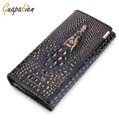 Guapabien Animal Leather Cover Snap Fastener Clutch Wallet