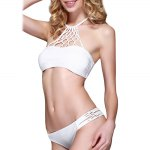 cheap Sexy Halter Hollow Out Low Waist Pure Color Two Piece Women Swimwear