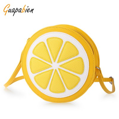 Guapabien Ladies Round Lemon Pattern Zipper Crossbody Shoulder Dual Purpose Mini Bags