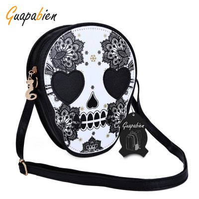 Guapabien Women Skull Floral Heart Cat Zipper Head Mini Dual Purposes Shoulder Messenger Bag