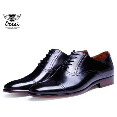 DESAI Genuine Leather Pointed Toe Male Business Shoes