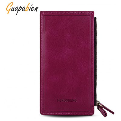 Guapabien Unisex Double Zipper Letter Embellishment Solid Color Vertical Wallet