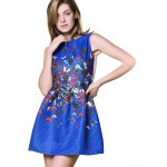 Fashionable Round Collar Sleeveless Butterfly Print A-Line Women Ball Gown Dress