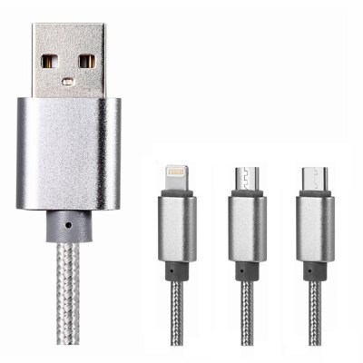3 in 1 Micro USB + Type-C + 8 Pin Connector Charge Cable 1m