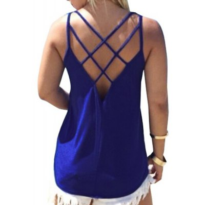 Sexy Spaghetti Strap Pure Color Criss-Cross Loose-Fitting Women Tank Top
