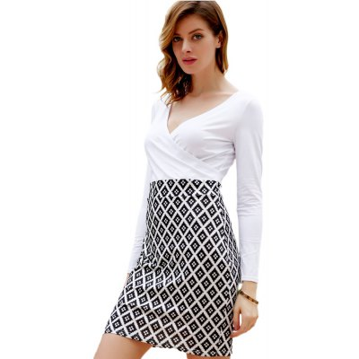 Sexy Plunging Neck Long SLeeve High Waist Wrapped Hip Mid-length Patchwork Color Block Women Bodycon Dress