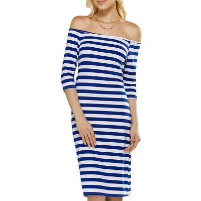 Sexy Off The Shoulder Striped Women Bodycon Dress