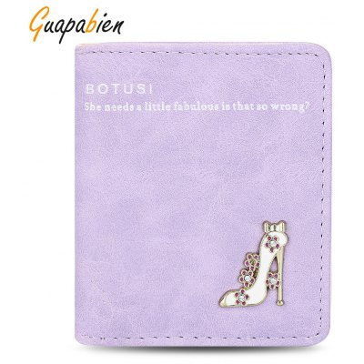 Guapabien Lady High Heeled Shoes Flower Letter Rhinestone Solid Color Hasp Short Wallet