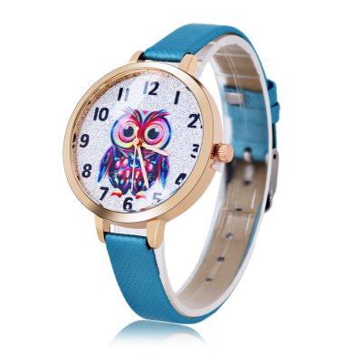 Owl Pattern Dial Women Quartz Watch