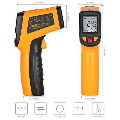 Non-contact Digital Infrared ThermometerLaser Rangefinder, Electronic Distance Meter<br>Non-contact Digital Infrared Thermometer<br><br>Package Contents: 1 x Infrared Thermometer, 1 x English User Manual<br>Package Size(L x W x H): 18.80 x 12.80 x 4.00 cm / 7.4 x 5.04 x 1.57 inches<br>Package weight: 0.1910 kg<br>Product Size(L x W x H): 14.50 x 8.50 x 3.80 cm / 5.71 x 3.35 x 1.5 inches<br>Product weight: 0.1380 kg