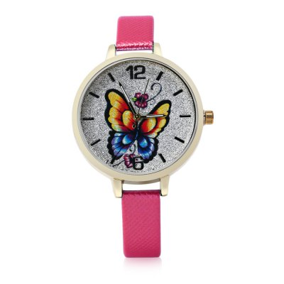 Butterfly Pattern Bright Dial Watch for Women