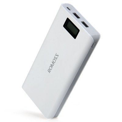 ROMOSS Sense 6 Plus LCD 20000mAh External Battery Pack Power BankPower Banks<br>ROMOSS Sense 6 Plus LCD 20000mAh External Battery Pack Power Bank<br><br>Battery Type: Li-ion Battery<br>Brand: ROMOSS<br>Capacity (mAh): Cell Capacity: 20000mAh, Rated Capacity: 12580mAh<br>Capacity Range: Over 10000mAh<br>Charging Time: 6.5 hours with 2.1A input; 13.5 hours with 1A input<br>Color: White<br>Compatible with: Mobile Phones and tablet PCs<br>Connection Type: Two USB Output Interface<br>Input: DC5V 2.1A<br>Mainly Compatible with: Universal<br>Material: ABS, PVC<br>Model: Sense 6 Plus<br>Output: DC5V 2.1A / DC5V 1A<br>Package Contents: ROMOSS Sense 6 Plus LCD 20000mAh External Battery Pack Mobile Power Bank Portable Charger, 1 x USB Charging Cable<br>Package size (L x W x H): 21.50 x 14.00 x 3.50 cm / 8.46 x 5.51 x 1.38 inches<br>Package weight: 0.5380 kg<br>Power: 74Wh / 3.7V<br>Product weight: 0.4320 kg<br>Type: Portable Mobile Powers